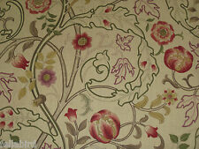 "WILLIAM MORRIS CURTAIN FABRIC ""Mary Isobel"" 3.6 METRES RED & GOLD DMCOMA202"