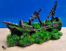 Shipwreck Grass Moss Aquarium Ornament Cave Hide Decoration Fish Tank New