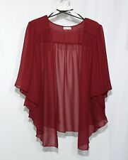 Womens Burgundy RED Plus Size 1X Chiffon Cardigan Bolero Shrug Top