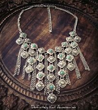 Stunning silver Bohemian Gypsy tribal turquoise dangling statement necklace