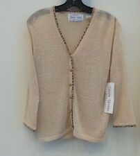 "SHARON YOUNG BRAND BLACK ""RIBBON CARDIGAN"" SWEATER, ""NATURAL"" SIZE MEDIUM - NWT"