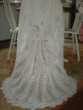 BEAUTIFUL 3 PLY TRADITIONAL HAND KNITTED WHITE  BABY SHAWL