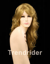 Red Tone Dirty blonde multi hues side-part wig full bangs silky waves 28""