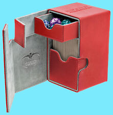 ULTIMATE GUARD FLIP n TRAY RED 80+ CASE XENOSKIN Standard Size Game Card Box CCG