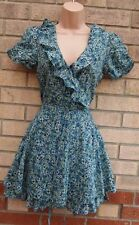 WAREHOUSE GREEN BLUE FRILLY V NECKLINE BELTED TEA FLORAL SKATER A LINE DRESS 8 S