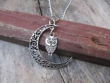Antique silver harry potter Owl in moon Lariat Necklace,moon necklace!