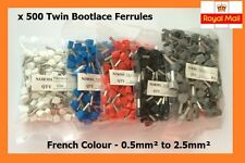 500 Double Entry Bootlace Ferrules Kit Cord End Terminal French Colour 0.5-2.5mm