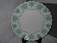 ? VINTAGE BREAD PLATE WITH A GREEN FLORAL PATTERN  SPIRAL RIB EDGE NO MAKER