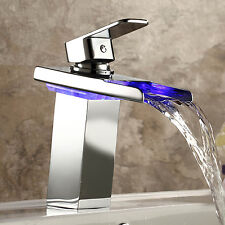 Tap and Tap Single Handle Waterfall Bathroom Sink Faucet LED Light Tap Mixer