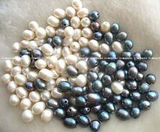 wholesale 50pcs freshwater pearl black white beads 10-13mm nature egg big hole