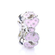 925 Silver Retro Dot Girl Mouse Pink Bowknot Spacer Charm Bead Fit Bracelet