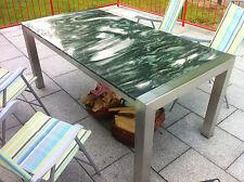 Gartentisch Wohnzimmertisch 160x90 Naturstein Grün Esstisch Edelstahltisch Stein