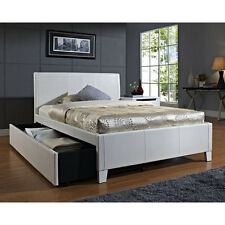 White Upholstered Full Size Bed w/ Trundle Home Living Bedroom Furniture