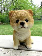 "POMERANIAN PUPPY sitting DOG FIGURINE STATUE RESIN PET 6"" H CANINE BROWN new"