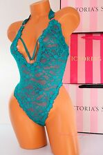 NWT Victoria's Secret Lingerie VS All-over Lace Cut-Out Teddy Unlined S Blue