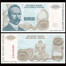 Bosnia & Herzegovina 100000000 100,000,000 Dinara, 1993, P-154, UNC