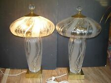 """Estate Pair Hand Cut Mouth Blown 22"""" Crystal 2 Light Table Lamps Crystal Shades"""