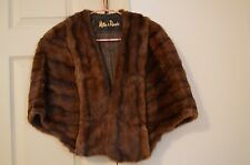 REAL FUR DARK BROWN MINK MILLER & RHOADS CAPE WRAP SHAWL  Small / Medium