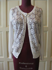 DOLCE & GABBANA White Floral Lace Knit Cardigan sweater IT 44  NWT $1.4K dress