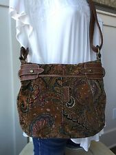 FOSSIL Velour Paisley Brown Leather Trim Crossbody Shoulder Bag Messenger PRETTY