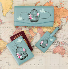 Vintage Birdcage TRAVEL BUNDLE / SET - 1 Wallet, 1 Passport Cover, 1 Luggage Tag