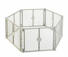 "indoor pet baby infant child safety gate fence 192"" max wide plastic gary new"