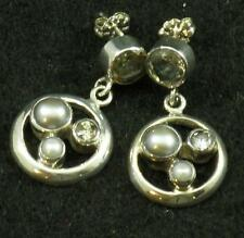 Faceted Smoky Golden TOPAZ White Gray PEARL .925 STERLING SILVER Dangle EARRINGS