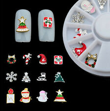 12 pcs 3D Christmas Nail Art Decoration Alloy Jewelry Glitter Rhinestones wheel