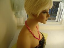 VTG NECKLACE W/BEAUTIFUL MOON GLOW PINK PLASTIC?? BEADS UNKNOWN       #137.