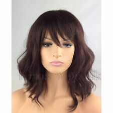 FULL WOMEN LADIES HAIR DARK AUBURN BROWN WAVY SHOULDER LENGTH BOB Perücken
