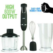 NEW Logik 600W Nutri-Stick Stick Hand Blender Food Chopper Whisk Matte Black