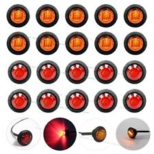 "10X Red + 10X Amber Mini 12V 3/4"" Round Side 3 LED Marker Trailer Bullet Light"