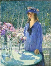 Oil painting spring flowers in glass bottle with girl wearing blue cloth hat