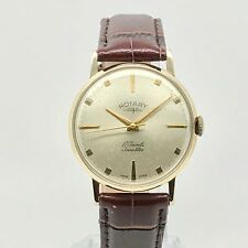 ROTARY Vintage 9ct Gold Mens Watch - New Brown Leather Strap - Manual Wind - Box