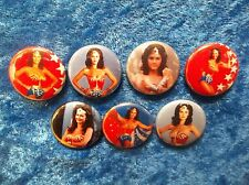"1"" pinback button set inspired  by ""Wonder Woman""  Lynda Carter"