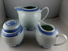 3 Pcs Tienshan China Rice Flower Pitcher + Sugar & Creamer - Blue & White Floral