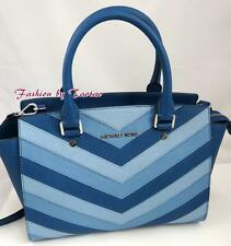 Michael Kors Selma Chevron Saffiano Messenger Crossbody Handbag Sky Blue $348