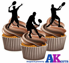 12 x Tennis Edible Cup Cake Toppers Silhouette Male Tennis Players Men's  Mix