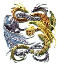 DRAGONS Blue & Green Intertwined IRON-ON PATCH **Free Shipping** dragon p3506