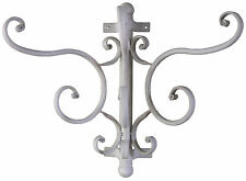 Shabby & Chic French Pale Grey Vintage Metal Coat Hooks Wall Rack Antique Hanger