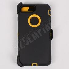 For iPhone 7 Plus Black/Yellow Case Cover (Belt Clip Fits Otterbox Defender)