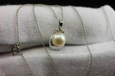 14k white gold round white cultured pearl diamond 15 inch chain pendant necklace