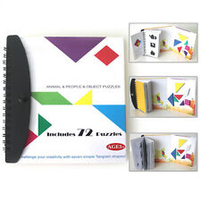 72 Puzzles Tangram Kid Child Toys Challenge IQ Montessori Early Educational Book