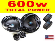 "6.5 ""Pollici 17cm 2 Way COMPONENT CAR AUDIO PORTA Scaffale Altoparlanti Coppia 600W totale"
