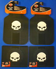 Harley Davidson Willie Skull Front Rear Rubber Floor Mats Logo 4 Pcs Set Truck