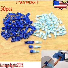 50 Pcs Electrical Cable Connectors Quick Splice Lock Wire Terminals Crimp Blue