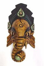 F757 Hand Crafted Wooden Mask of Hindu Lord Ganesh Wall Hanging Mde In Nepal