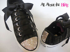Converse All Star Black Sequin with Swarovski Crystals SIZE US 8 UK 6 stunning