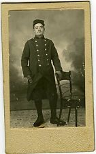 PHOTO CDV un militaire Louis pose guerre 14/18 képi uniforme