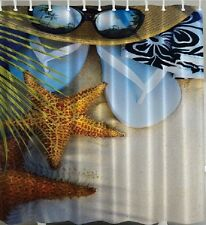 Beach Sand Starfish Fabric SHOWER CURTAIN Glasses Hat Flip Flop Tropical Decor